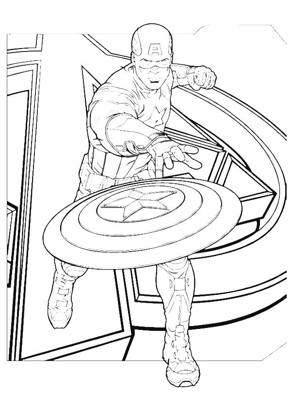 Captain America Cast Engage Coloring