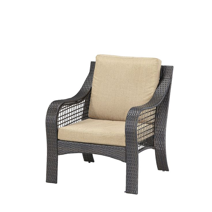 Home Styles 5804-80 Lanai Breeze Accent Chair, Deep Brown and Gold Finish. Woven vinyl over rust-resistant aluminum frames. Woven gold tone weather-resistant polyester covered cushions. Levelers on the feet. Suited for both indoor and outdoor use.