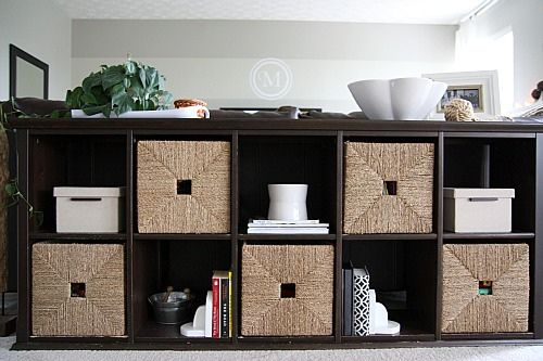 Storage Cubes as room divider. Place one behind couch? Add baskets to make pretty.