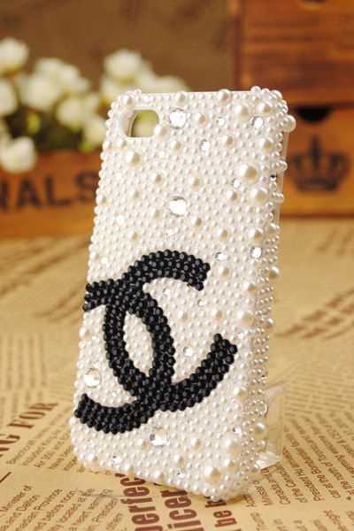 Double Ccc pearl and crystal cover phone case by BlingWork on Etsy