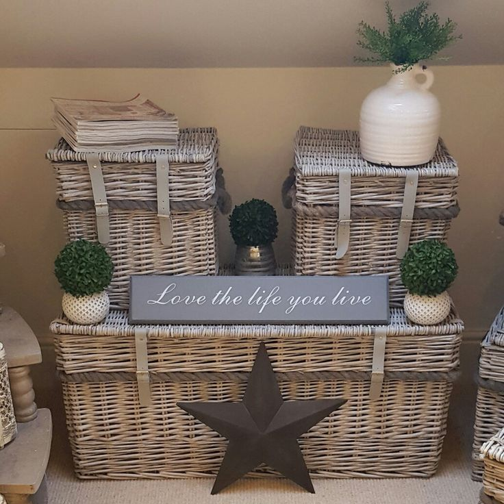 Wicker trunks...we use as coffee tables and little side tables... Westbarninteriors.co.uk