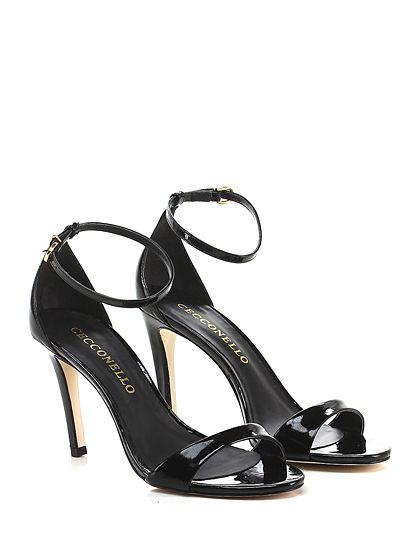 Cecconello - Sandalo alto - Donna - Sandalo alto in vernice con cinturino alla caviglia. Tacco 95. - NERO - € 149.00