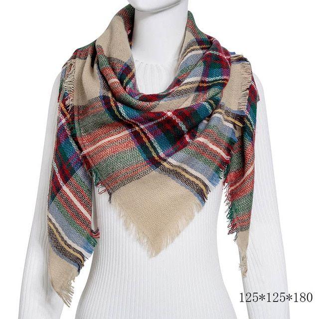 winter scarf women cashmere scarves knit warm shawls and wraps plaid big square blanket lady pashmina