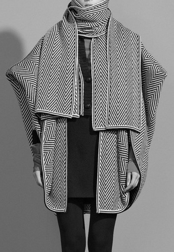 "Style: ""KS2ref""White Coats, Black And White, Style Inspiration, Black & White Garments, Fashion Trends, Stripes Capes, Fashion Ponchos, Women'S Coats, My Style"