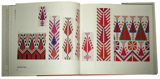 This 1977 book, Arabesque: Decorative Needlework from the Holy Land by Ziva Amir, contains 98 color counted-stitch embroidery patterns of traditional designs from the Near East.