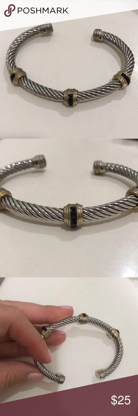 Brighton bracelet cuff silver Brighton bracelet cuff with gold and black detailing. looks new! Brighton Jewelry Bracelets