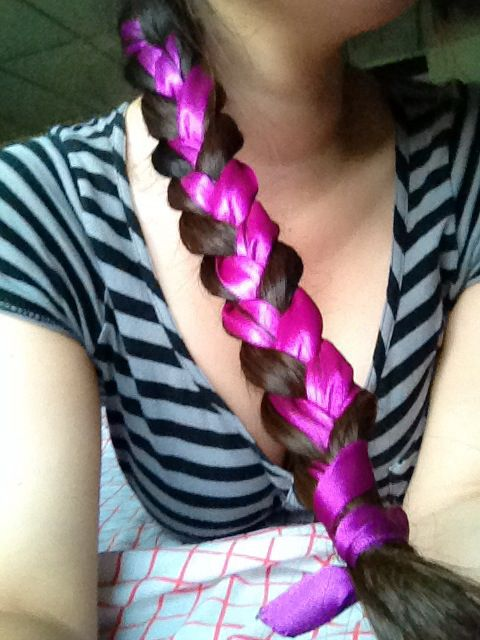 Braid with purple ribbon <3