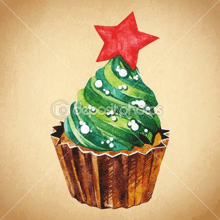 Скачать - Рождественский кекс с Холли Берри. Векторные иллюстрации и акварель. традиционный вкусный рождественский десерт. Рождественские Винтаж ретро еда — стоковая иллюстрация #36090185