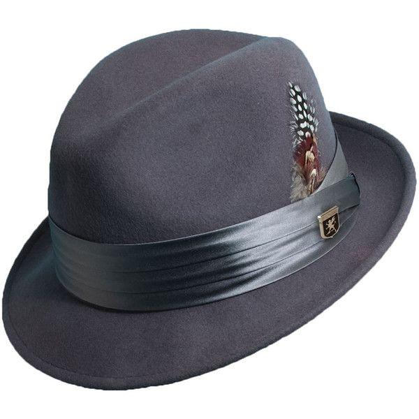 Stacy Adams Men's Wool Felt Fedora Grey Hats L (62 AUD) ❤ liked on Polyvore featuring men's fashion, men's accessories, men's hats, grey, mens wide brim fedora hats, mens wide brim fedora, mens felt hat and mens wool felt fedora hats