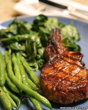 Blood-Orange-Marinated Pork Chops: Baby Spinach, Orange Marinated ...