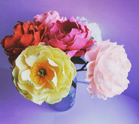Peony Flowers high quality Crepe Paper Flowers Table