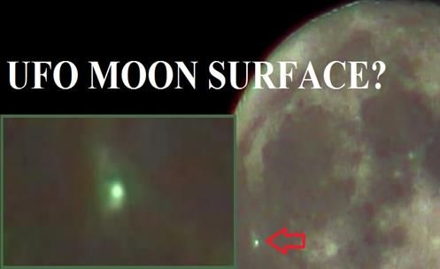 Strange appearance of an object (UFO) with a green light on the moon surface?