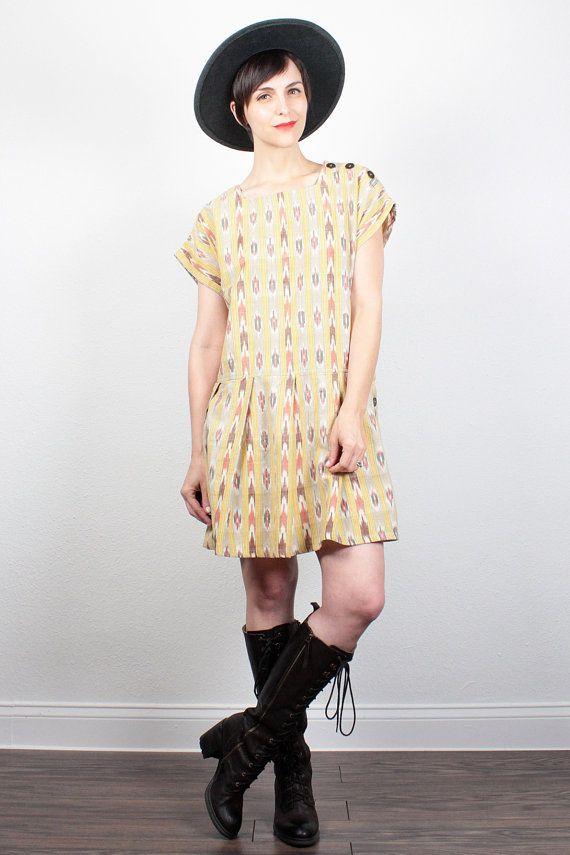 Vintage 1990s Dress Southwestern Striped Print Mini Dress 90s Dress Soft Grunge Dress Babydoll Dress Drop Waist Hipster Dress S M Medium L by  #vintage #etsy #90s #1990s #dress #southwestern #boho #babydoll #softgrunge ShopTwitchVintage