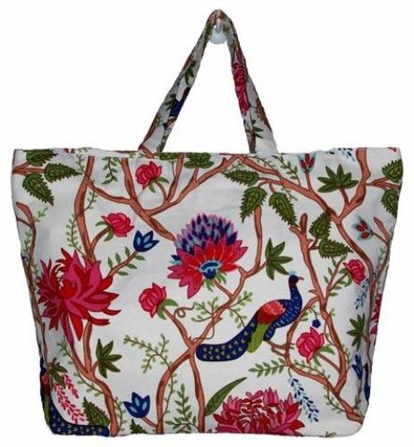 White Peacock Tote. Sturdy, spacious, fully lined.  www.rosaliving.co.nz www.rosaliving.com.au