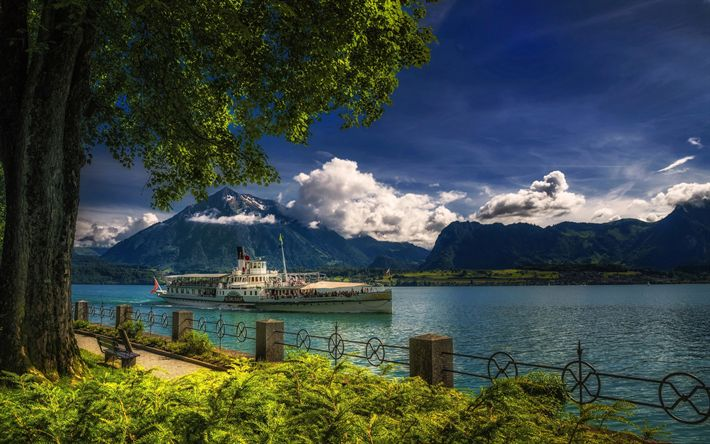 Download wallpapers Lake Thun, Switzerland, mountain landscape, Alps, pleasure boat, motor ship, Oberhofen
