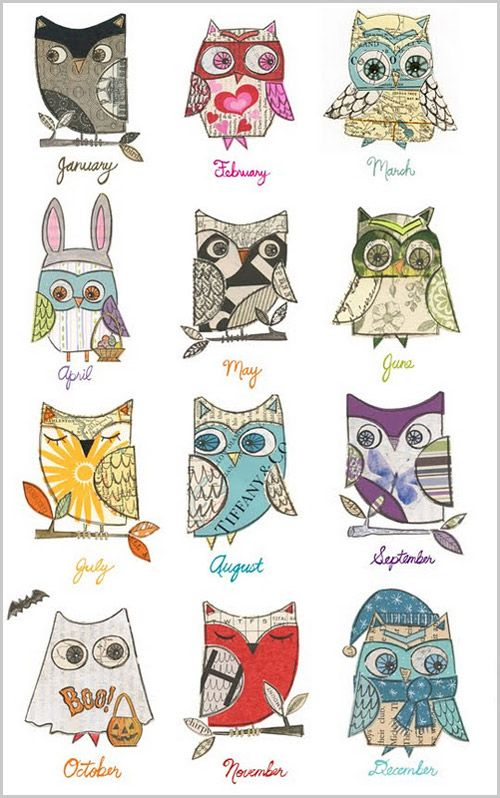 PrintablE OwL ArT. Neat idea for quilt of the year. Take animal or thing and change it through the seasons