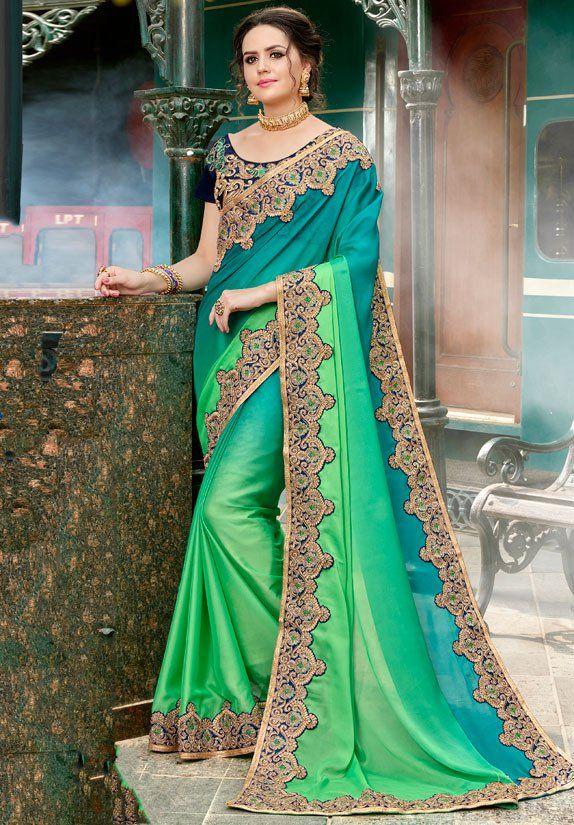 Parrot Green And Teal Green Designer Saree Designer