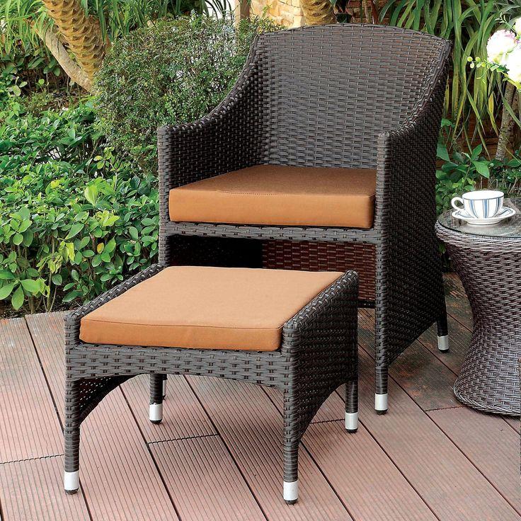 Outdoor Furniture of America Erone Contemporary Wicker Patio Armchair with Ottoman - IDF-OT2550-AC