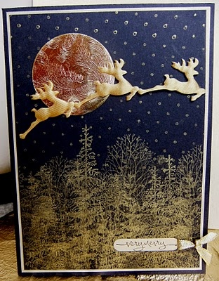Navy blue & gold cardChristmas Deer, Christmas Cards, Christmas Time, Blue Gold, Beautiful Cards, Gold Love Love Lov, Cards Iolog Mine, Gold Cards, Cards Christmase Reind