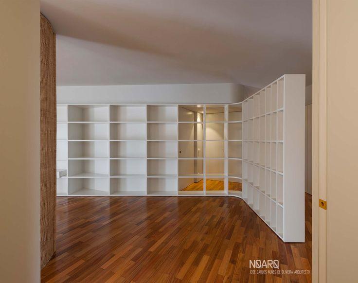 NO APARTMENT - Living room - #noarq # renovation #living #shelves #greydesign #whitedesign #woodfloor- by José Carlos Nunes de Oliveira - © NOARQ - Photography by Arménio Teixeira