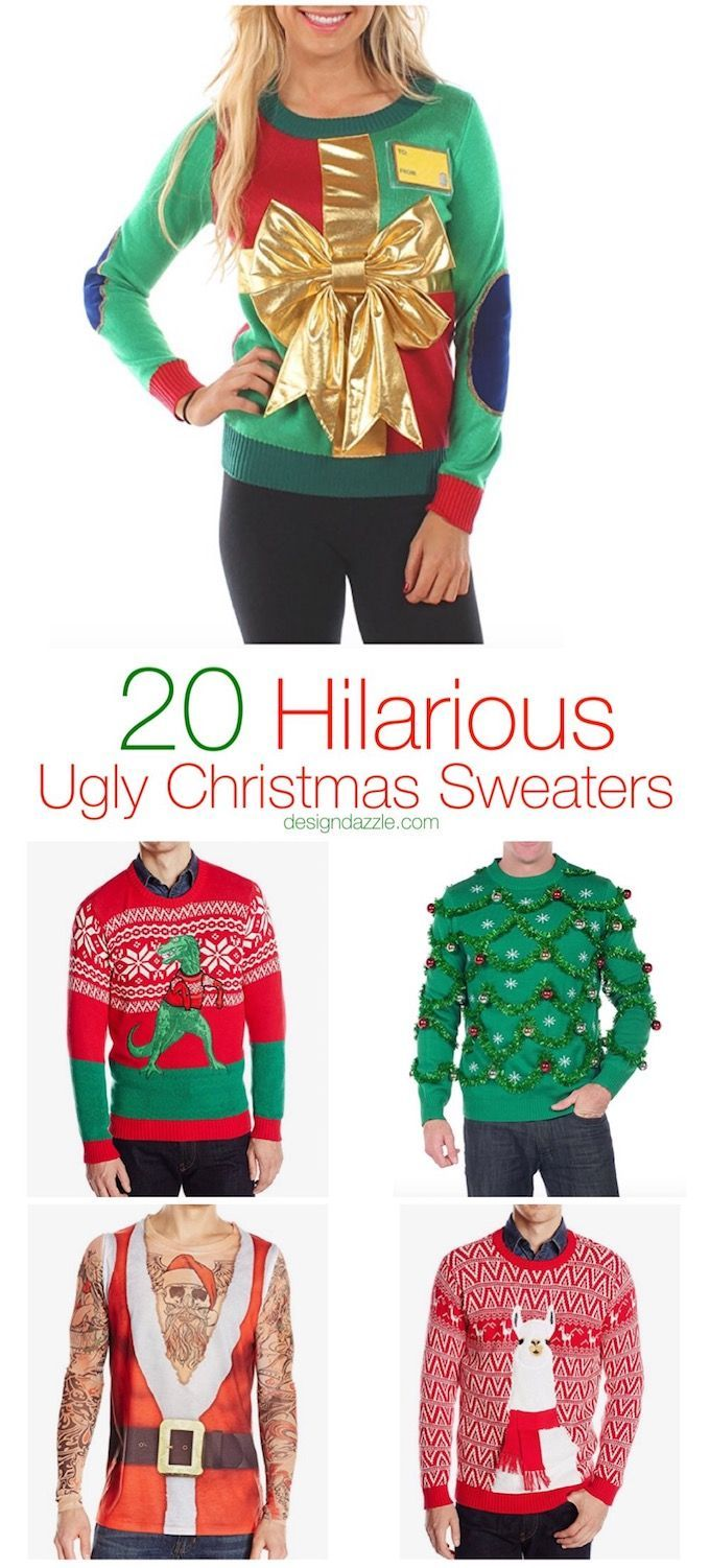 Whether you're a fan of DIY or you like to buy, this post has 20 hilarious ugly Christmas sweater ideas for anyone and everyone!| ugly Christmas sweater ideas | diy ugly christmas sweaters | ugly Christmas sweater outfit  | homemade ugly Christmas sweater || Design Dazzle #uglychristmassweater #diychristmassweater #homemadeuglychristmassweater