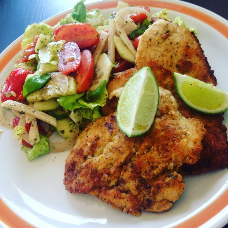 Coconut Flour Chicken with a Fresh Garden Salad