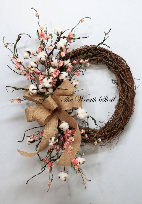 Blossom/Cotton Boll Wreath, Natural Cotton Bolls, Wedding Wreath, 2nd Anniversary Gift, Farmhouse Decor, Burlap Bow, Country Primitive Decor