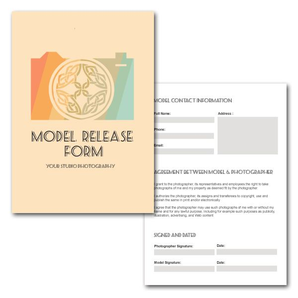 Photographers Print Release Form Digital by KalaRathPhotography - model release form