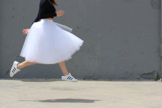 Winter Sale Tulle skirt midi skirt wedding skirt by JojoBlanc
