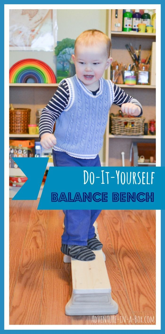 How to Make a Balance Bench: DIY tutorial on how to turn a wooden board into an exercise equipment and a gross motor development toy - great for toddlers and older kids!