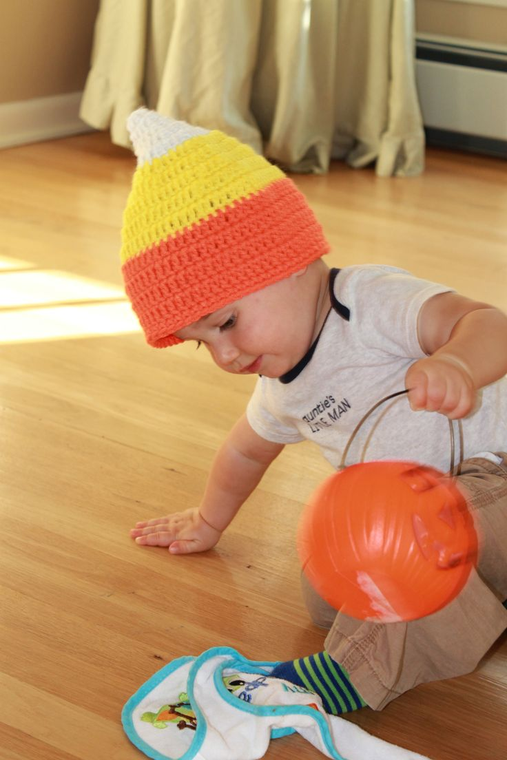 candy corn hat.  made up my own pattern