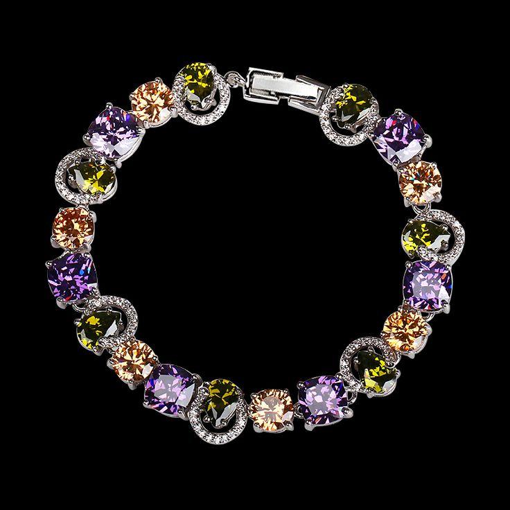 Platinum Plated Luxury Multicolor CZ Bracelet