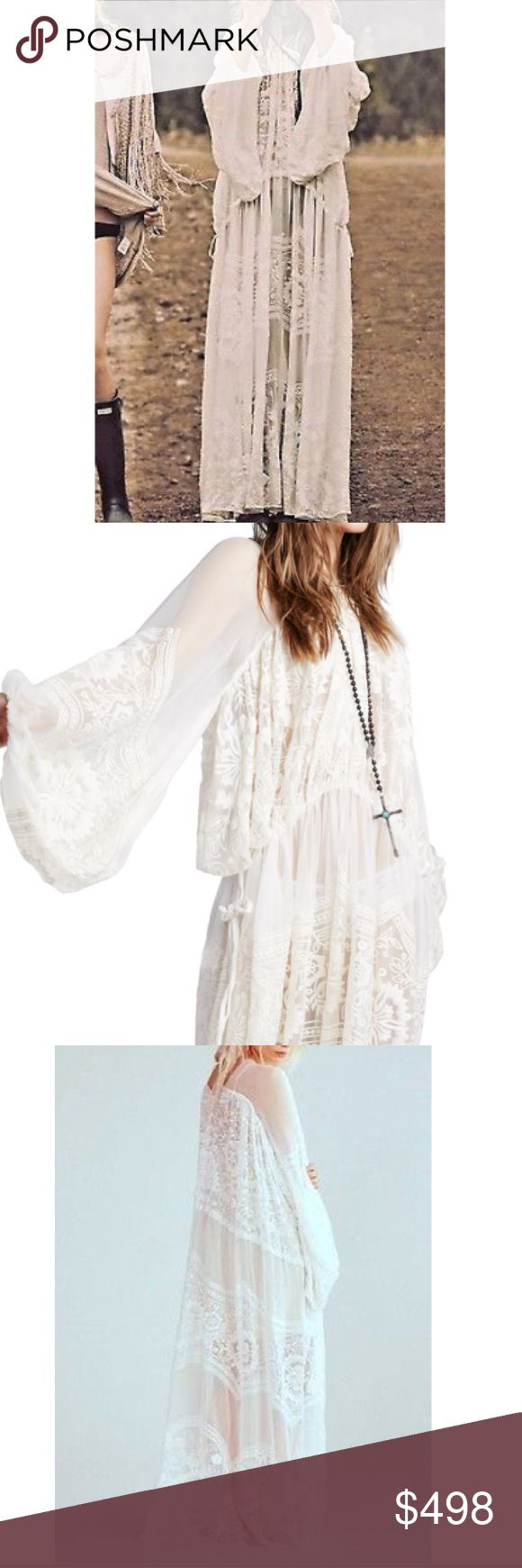 "Free People BohemianWind Embroidered wedding dress Ethereal and gorgeous maxi dress featuring allover tonal embroidery detailing with statement wide sleeves and a V-neckline. Adjustable ties at the waist for a more customizable fit.  100% Silk Hand Wash Cold Import Bust: 44.0"" = 111.76 cm Length: 59.5"" = 151.13 cm Sleeve Length: 29.5"" = 74.93 cm.  New never worn. Sold out this years style. Sold out everywhere, i saw that its selling on eBay for $748- this is a score!!! Free People Dresses…"