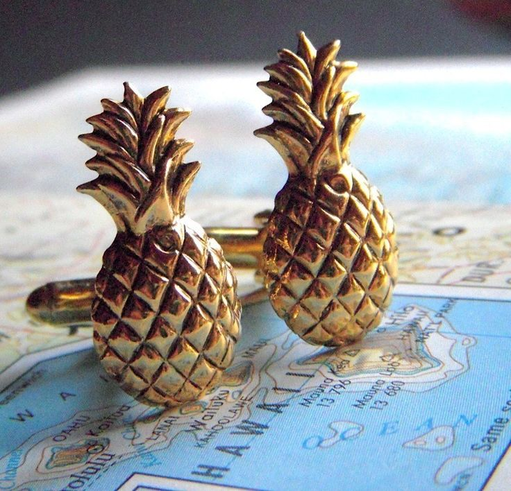 Pineapple Cufflinks Vintage Inspired Gothic Victorian Art Deco Tiki Men's Cuff Links & Accessories Antiqued Gold Tone Metal. $45.00, via Etsy.