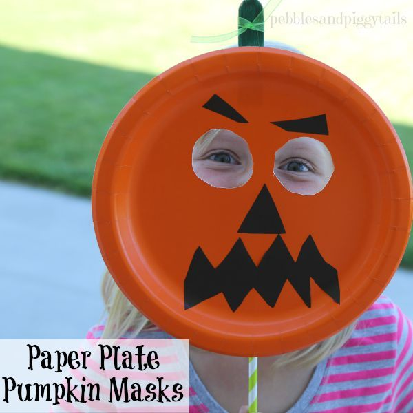 easy to make halloween paper plate pumpkin masks kids craft using stuff you already have