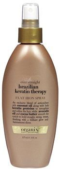 Organix Brazilian Keratin Therapy Flat Iron Spray Organix Brazilian Keratin Therapy Flat Iron Spray Organix Ever Straight Brazilian Keratin Therapy Flat Iron Spray is a nourishing and defensive hair spray product that works to protect the hair agains http://www.MightGet.com/january-2017-12/organix-brazilian-keratin-therapy-flat-iron-spray.asp