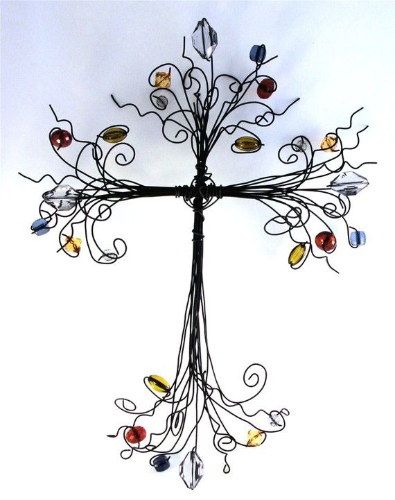 multi colored   wire cross by leadyouhomeoriginals on Etsy, $35.00