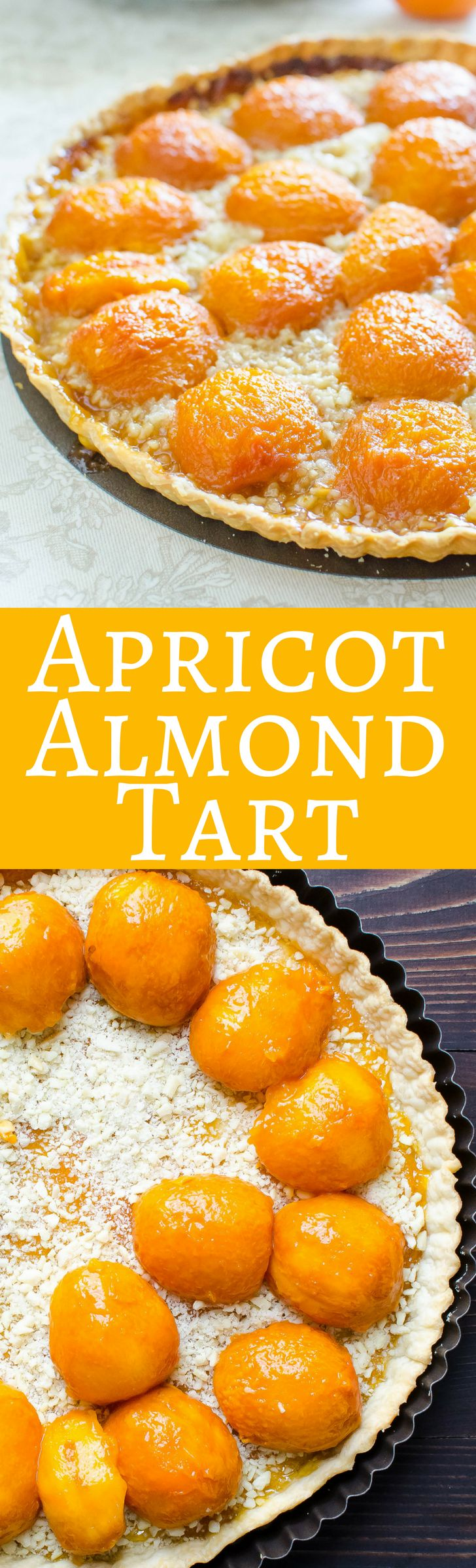 This simple apricot tart recipe  is easy to make and great for entertaining!  Using fresh apricots, almonds and store-bought pastry dough!