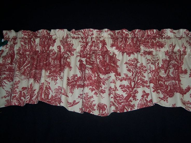 L@@K~RED ON CREAM~WAVERLY Country Life Toile Scalloped Lined Valance Curtains! | Home & Garden, Window Treatments & Hardware, Curtains, Drapes & Valances | eBay!