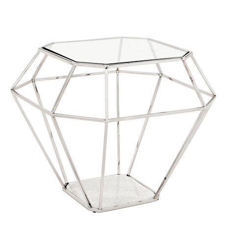 Приставной столик Side Table Asscher с оригинальным дизайном в виде кристалла выполнен из никелированного металла. Столешница из плотного прозрачного стекла. Основание из мрамора белого цвета.