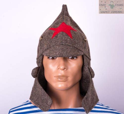 Russian-Soviet-budenovka-winter-wool-hat-size-60-62-USSR-Red-Army-uniform