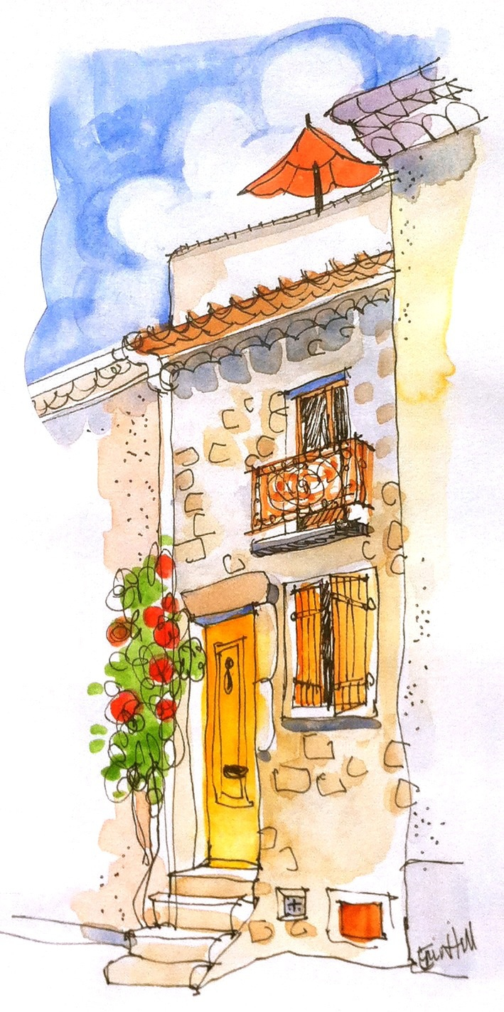 Little Cottage for two, Trausse, France. ErinHillSketching