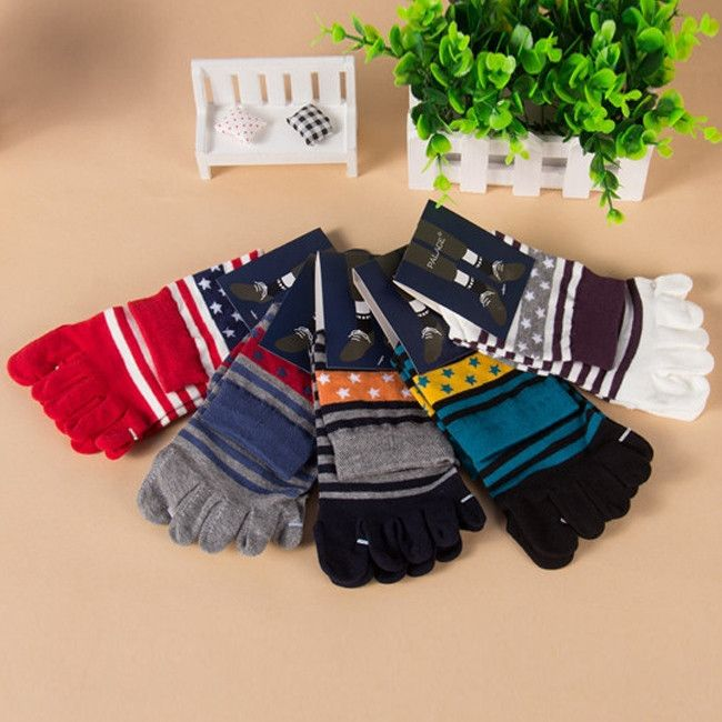 Wiggle Socks 1 Pair Five Finger Toe Shoes Hot sale Men's Socks Pure Cotton Sports Five Finger Socks Toe Socks