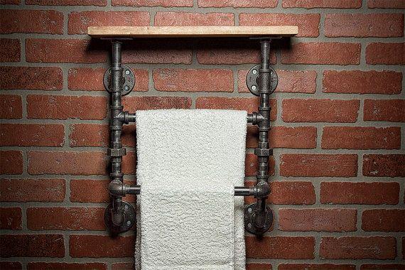 Industrial Bath Towel Rack  Bathroom Shelf  Home Decor  by TMGDZN