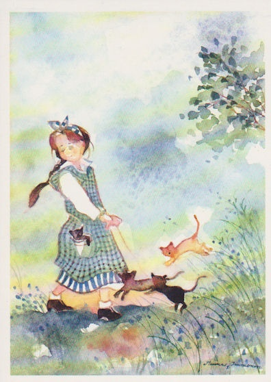 Girl and Kittens. I remember a litter of kittens following me everywhere. Great memories of an animal-centered childhood.