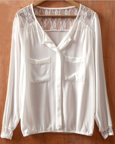 White V Neck Lace Pockets Long Sleeve Chiffon Shirt >> So pretty, love the lace top!
