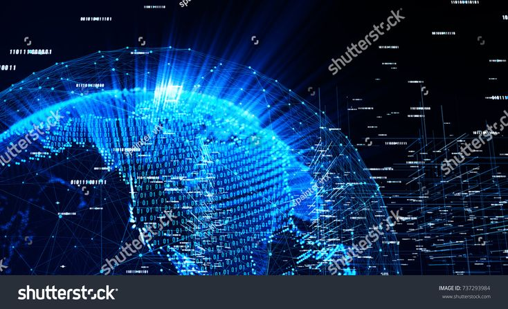Connection lines Around Earth Globe, Motion of binary code flow. Futuristic Technology Theme Background with Light Effect. 3D Rendering/Global Interna…