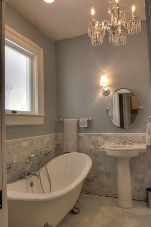 Traditional Full Bathroom with Carrara white honed marble tile, Color Crystal Mini Chandelier, Pedestal sink, Wall sconce