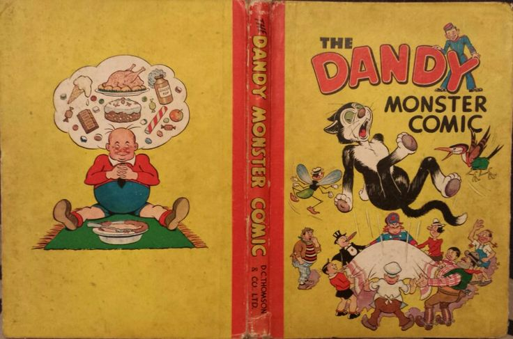 Cover, spine and back cover of 1947 Dandy annual.