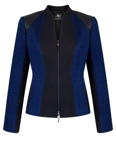 INK TEXTURED JACQUARD AND BLACK PANEL ZIP JACKET - Style Number: KA98217